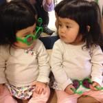 双子 前髪ぱっつん。りんかちゃんあんなちゃん風。笑